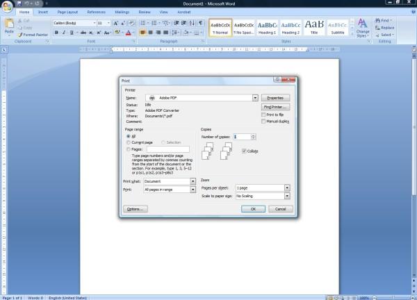 Screenshot showing Adobe PDF in printer list